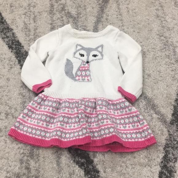 Gymboree Sweater Dress Fox Winter Baby Girl 12-18